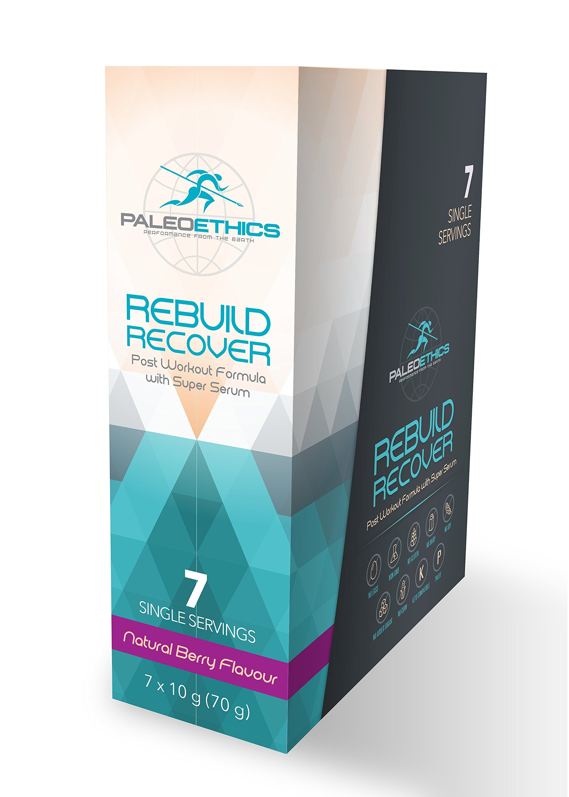 PALEOETHICS Rebuild Recover Post Workout Formula with Super Serum, Natural Berry, 7 Count