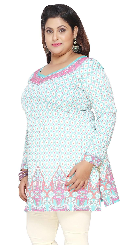 d40b6b87684fc Womens Plus Size Indian Kurtis Tunic Top Printed India Clothes Eplus113p