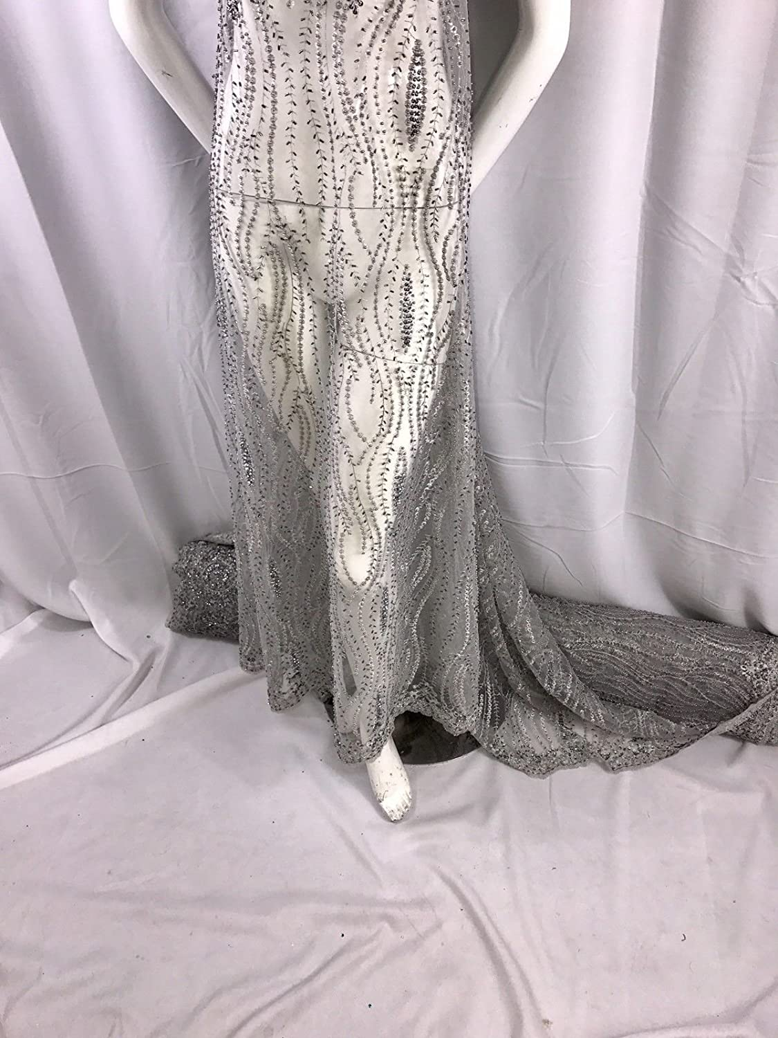 GRAY HAND BEADED LACE FABRIC EMBROIDER WITH METALLIC TREAD ON A MESH-BY THE YARD