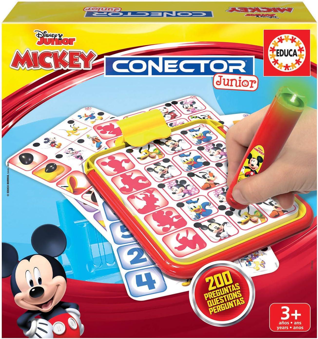 Educa- Conector Junior Mickey y Minnie Juego de Preguntas y respuestas, Incluye boli Sabio con led, para niños de Entre 3 y 5 años (18544)