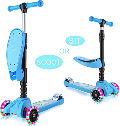 WeSkate Scooters for Kids Toddler with Seat, 2-in-1 Kid 3 Wheel Light UP Kick Scooters for Boys Girls Childrens, Adjustable Height Foldable Removable Seats Scooter for 1 to 8 Years Blue
