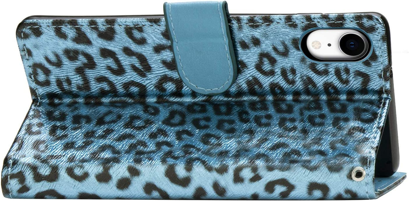 Leopard Print Wallet Case for iPhone XR,QFFUN Luxury Fashion Design Double Magnetic Stand Leather Phone Case Drop Protection Protective Case Bumper Flip Cover and Screen Protector,Blue