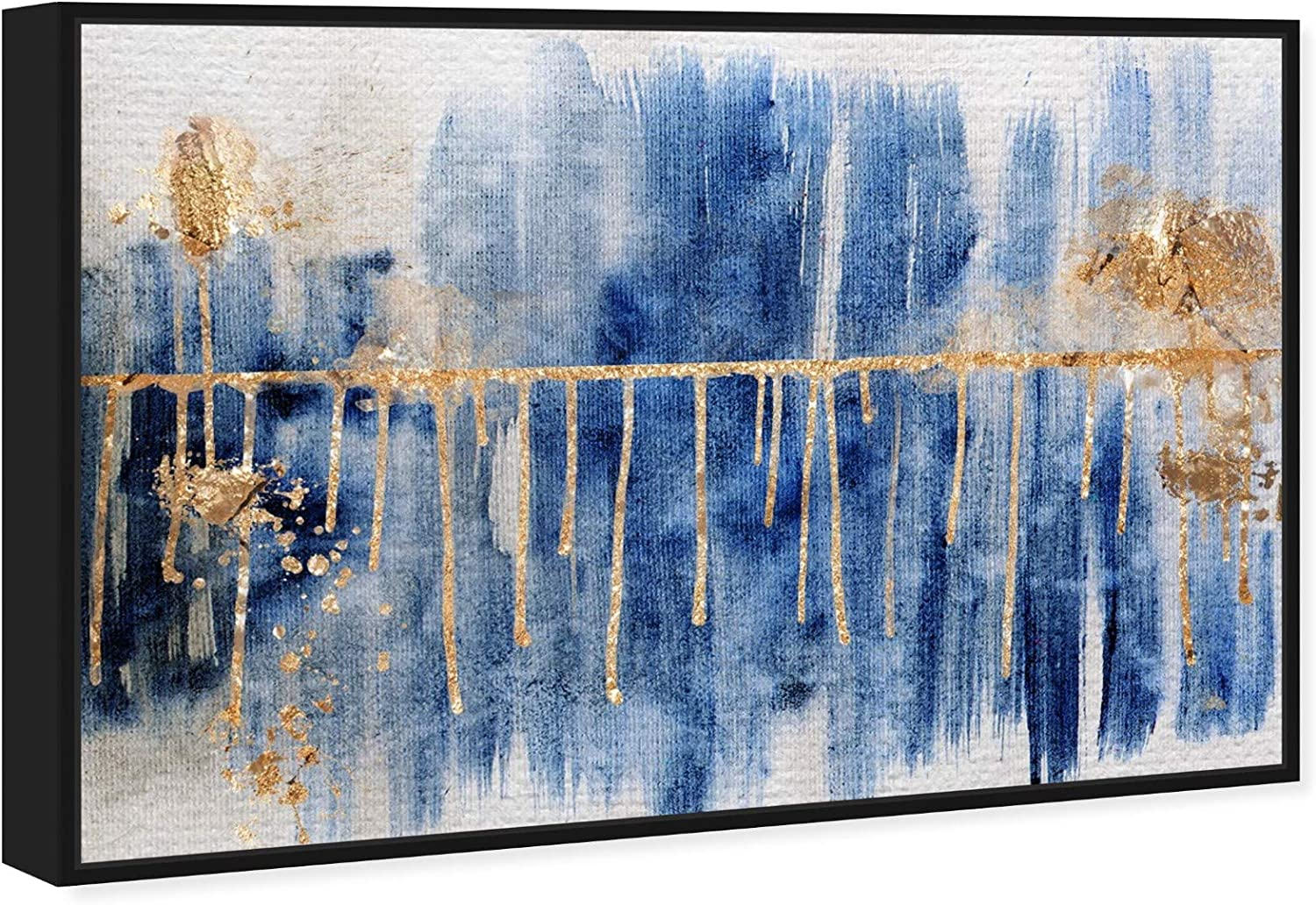 Amazon Com The Oliver Gal Artist Co Abstract Framed Wall Art Canvas Prints Path Paint Home Décor 45 X 30 Blue Gold Home Kitchen