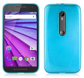 Cadorabo de de 104899 Motorola Moto G3 teléfono móvil de TPU Silicona en Aspecto Acero Inoxidable Cepillado (Pulido), Color Turquesa
