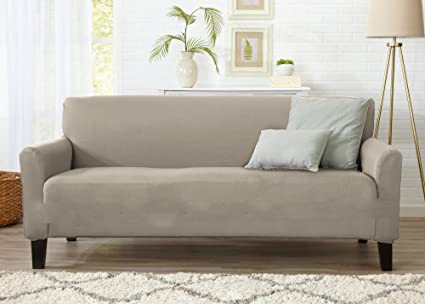 Great Bay Home One Piece Sofa Silpcover, Slip Resistant, Stylish Furniture Cover/Protector. Dawson Collection Basic Strapless Slipcover Brand. (Sofa, ...