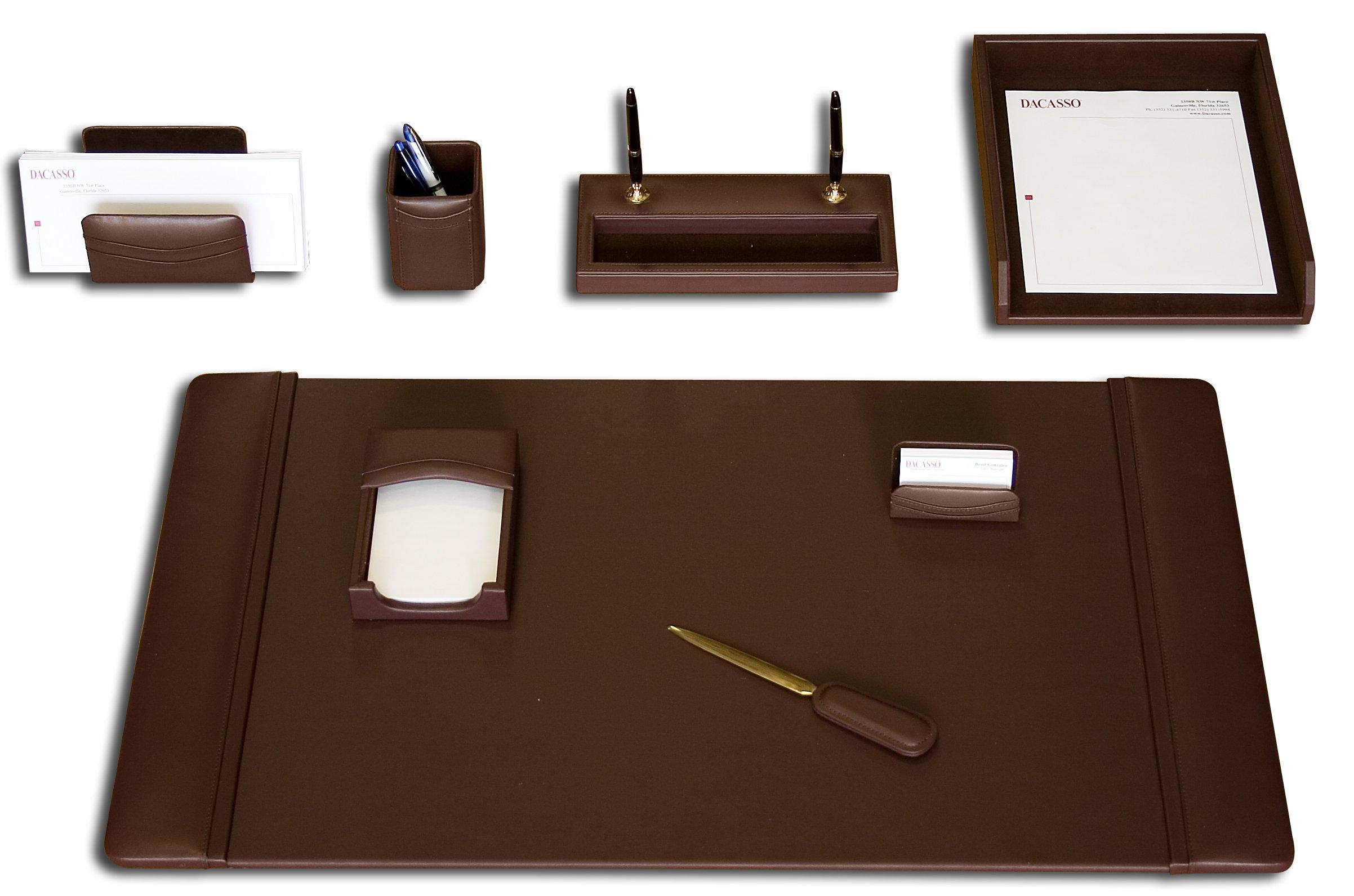 Dacasso Leather Desk Set, 8-Piece, Chocolate Brown