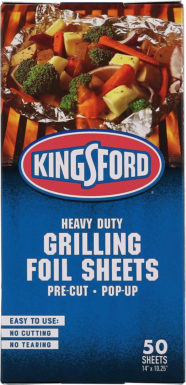 Kingsford Grilling BB12021   Pre-Cut Aluminum Foil, 50 Count, Pop-Up Sheets