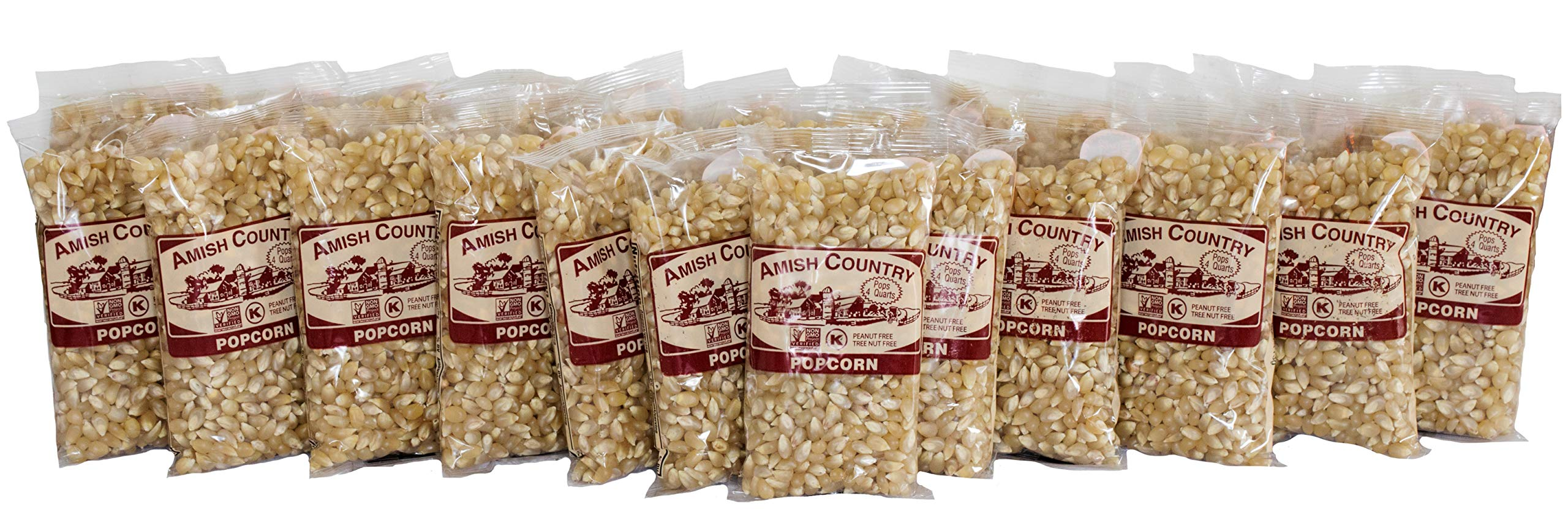 Amish Country Popcorn - Medium White Kernels 4 Ounce Bags (24 Pack) - Old Fashioned, Non GMO, and Gluten Free - with Recipe Guide by Amish Country Popcorn