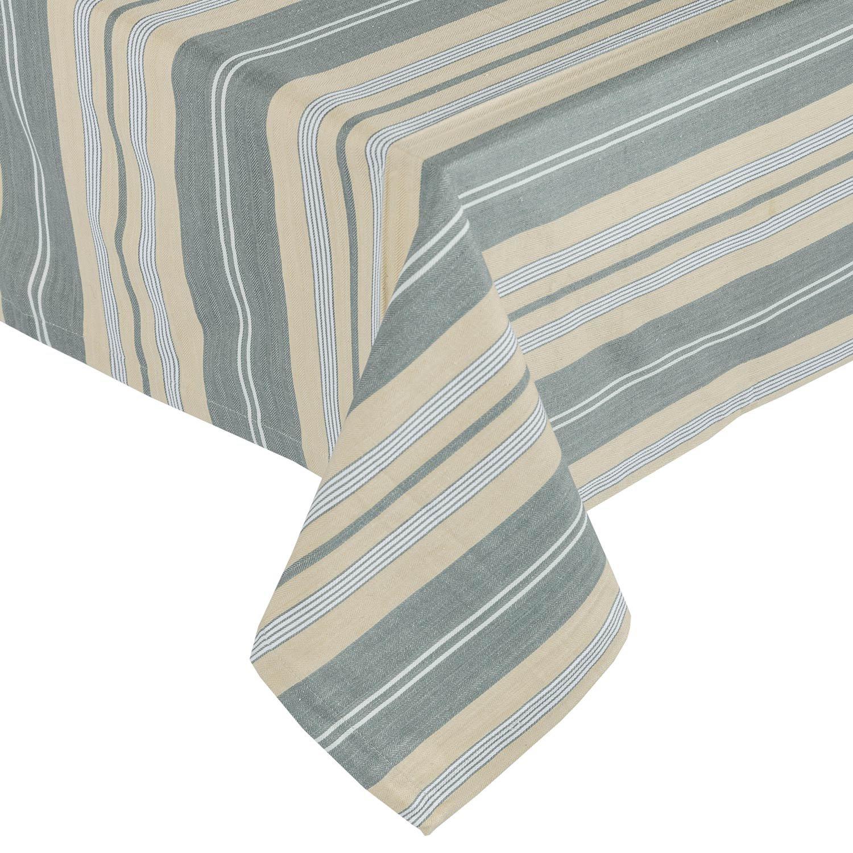 Homescapes Oxford Grey Stripe Cotton Tablecloth 4 Seater Square 137 x 137 cm (54 x 54 Inches) - Grey, Black, White, Cream Stripes - 100% Cotton, Washable at 40 Deg C