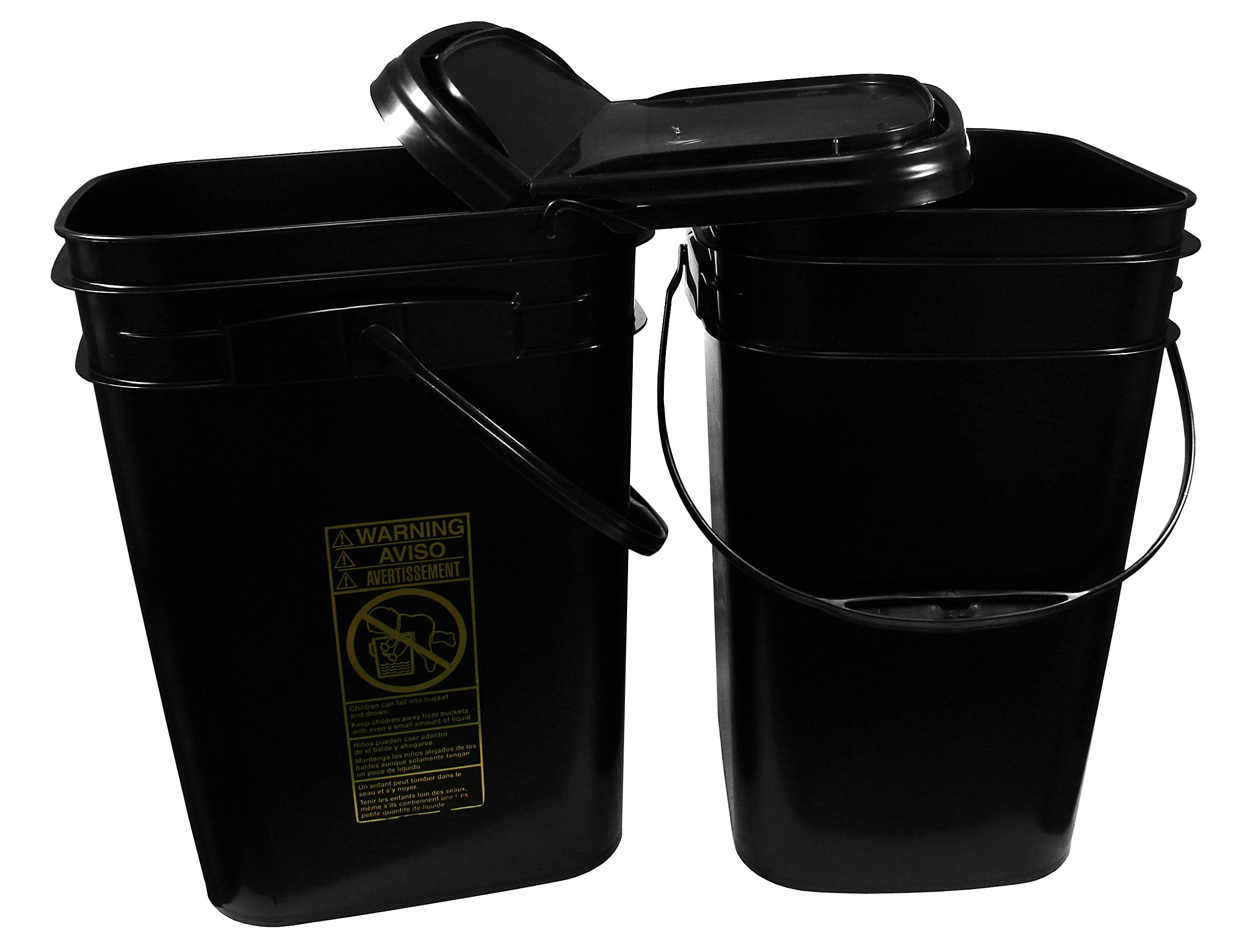 5.3 Gallon Black Rectangular Bucket/Pail with Hinged Snap Lid, 2 Pack