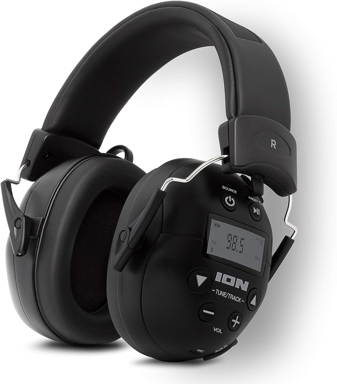 ION Audio Tough Sounds 2 - Auriculares con Bluetooth alimentados con batería resistentes al clima con reducción de ruido para una máxima protección de los oídos, función manos libres y radio AM/FM