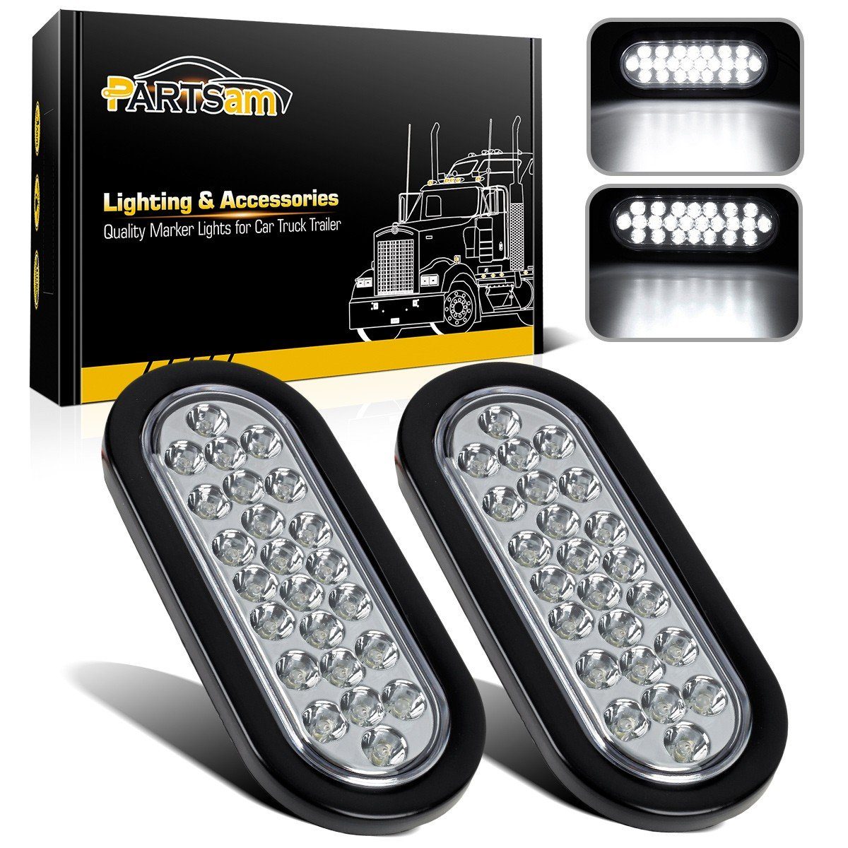 Partsam 2x Oval Clear Lens White Stop Turn Tail Backup 1965 Ford F100 Light Wiring Color Reverse Fog Lights Lamps Rubber Flush Mount 6 24 Led For Truck Trailer Boat Rv