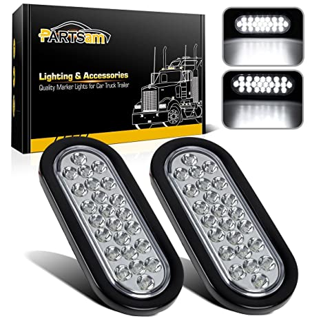 95877bed0e ... 2x Oval Clear Lens White Stop Turn Tail Backup Reverse Fog Lights Lamps  Rubber Flush Mount 6