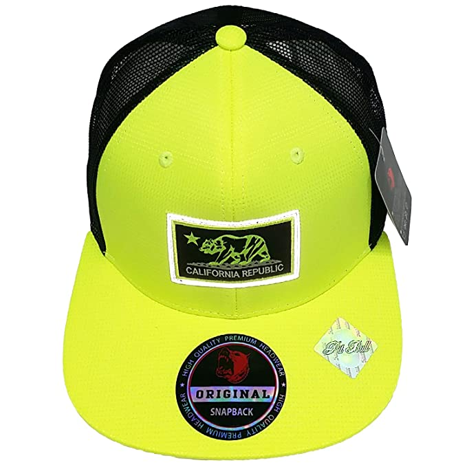 8ba03a5853f PitBull California Republic Hat Light Reflection Patch Snapback Cali Mesh  Trucker Baseball Cap (Yellow-
