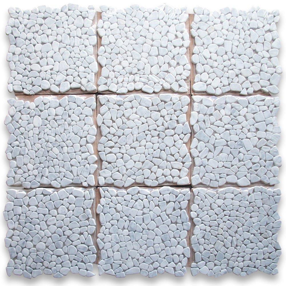 Carrara White Italian Carrera Marble River Rocks Pebble Mosaic Tile ...