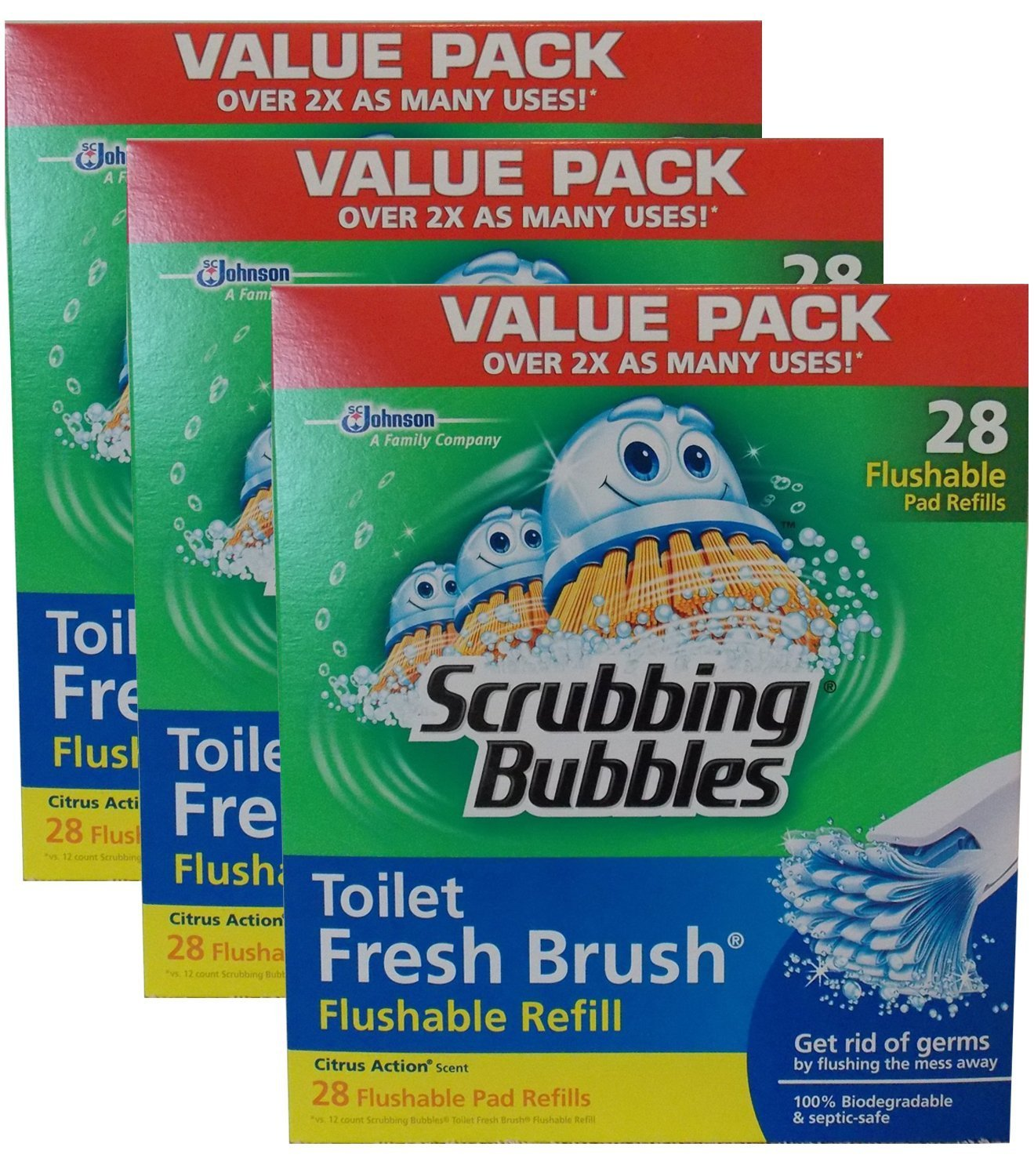 Scrubbing Bubbles Toilet Fresh Brush Flushable Refills (28 count, pack of 3) B00NY9JX3Y