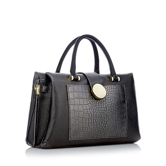 bad84c3e3a08 Womens black snakeskin effect insert large grab smart handbag with  removable shoulder strap one size  J by Jasper Conran  Amazon.co.uk   Clothing