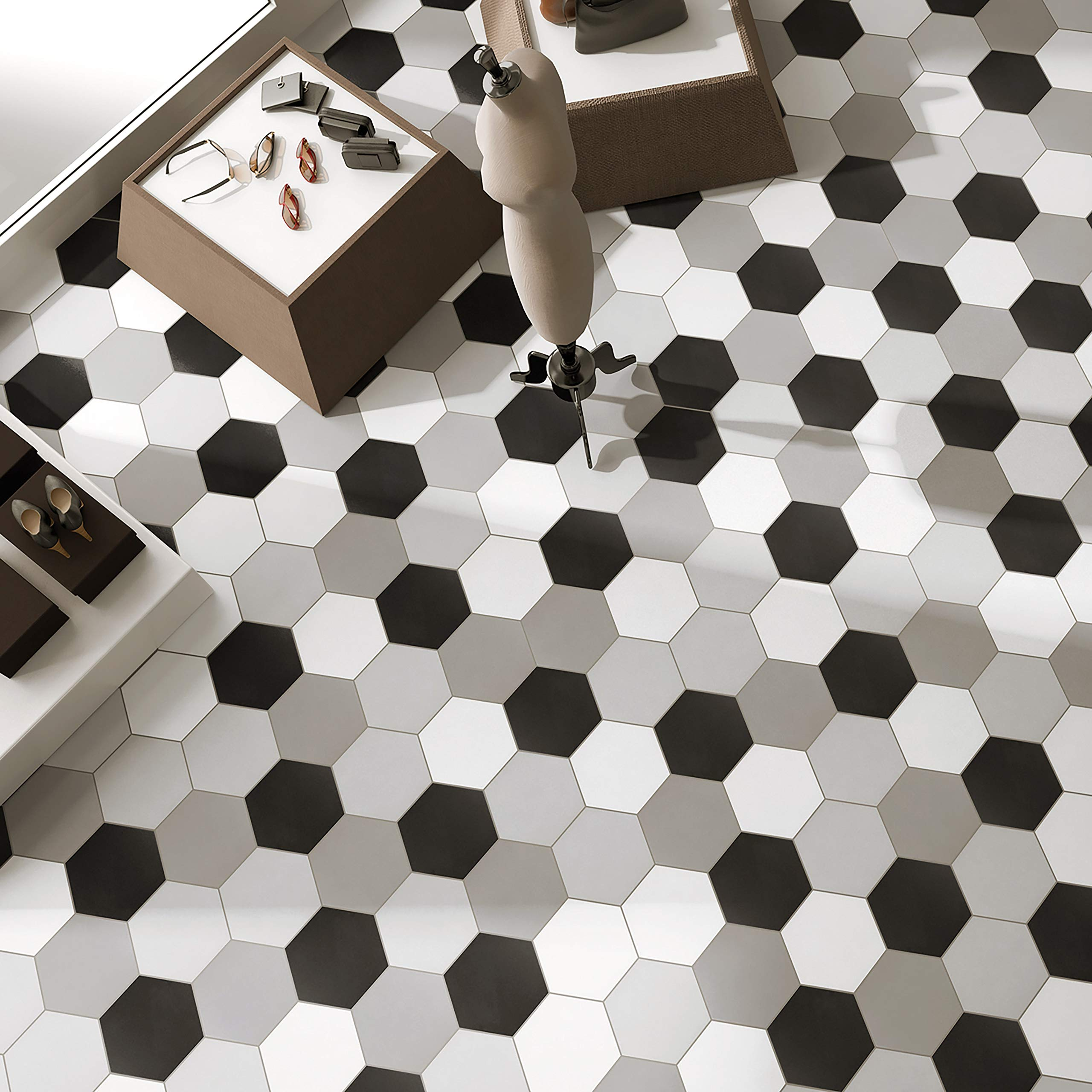 SomerTile FCD10STX Abrique Hex Porcelain Floor and Wall, 8.63'' x 9.88'', Silver Tile 8.625'' x 9.875'' 25 Piece by SOMERTILE (Image #6)