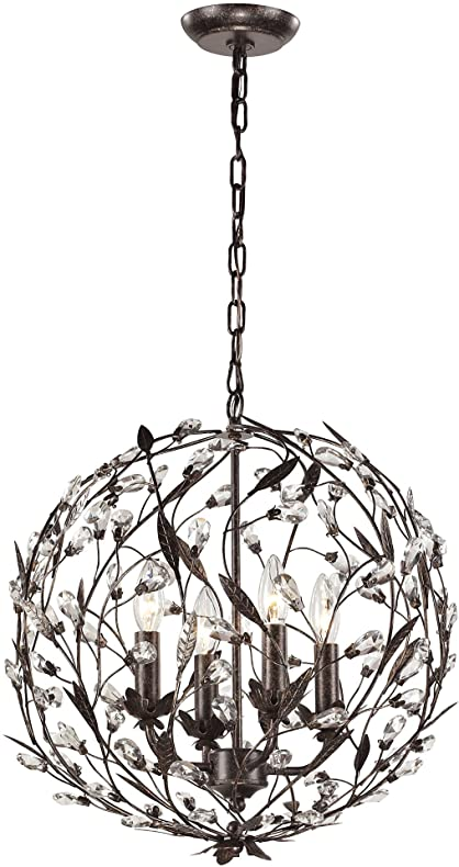 elk lighting circeo collection 4 light pendant deep rust
