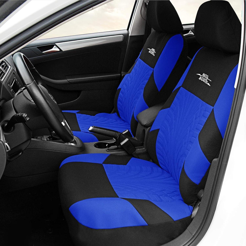 Autoyouth Car Seat Covers Universal Fit Full Set Car Seat Protectors Tire Tracks Car Seat Accessories 9pcs Black Blue Automotive Amazon Com