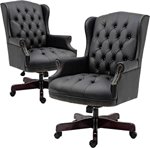 HALTER Executive Office Chair - High Back Reclining Comfortable Desk Chair - Ergonomic Design - Thick Padded Seat and Backrest - PU Leather Desk Chair with Smooth Glide Caster Wheels (Black 2 Pack)