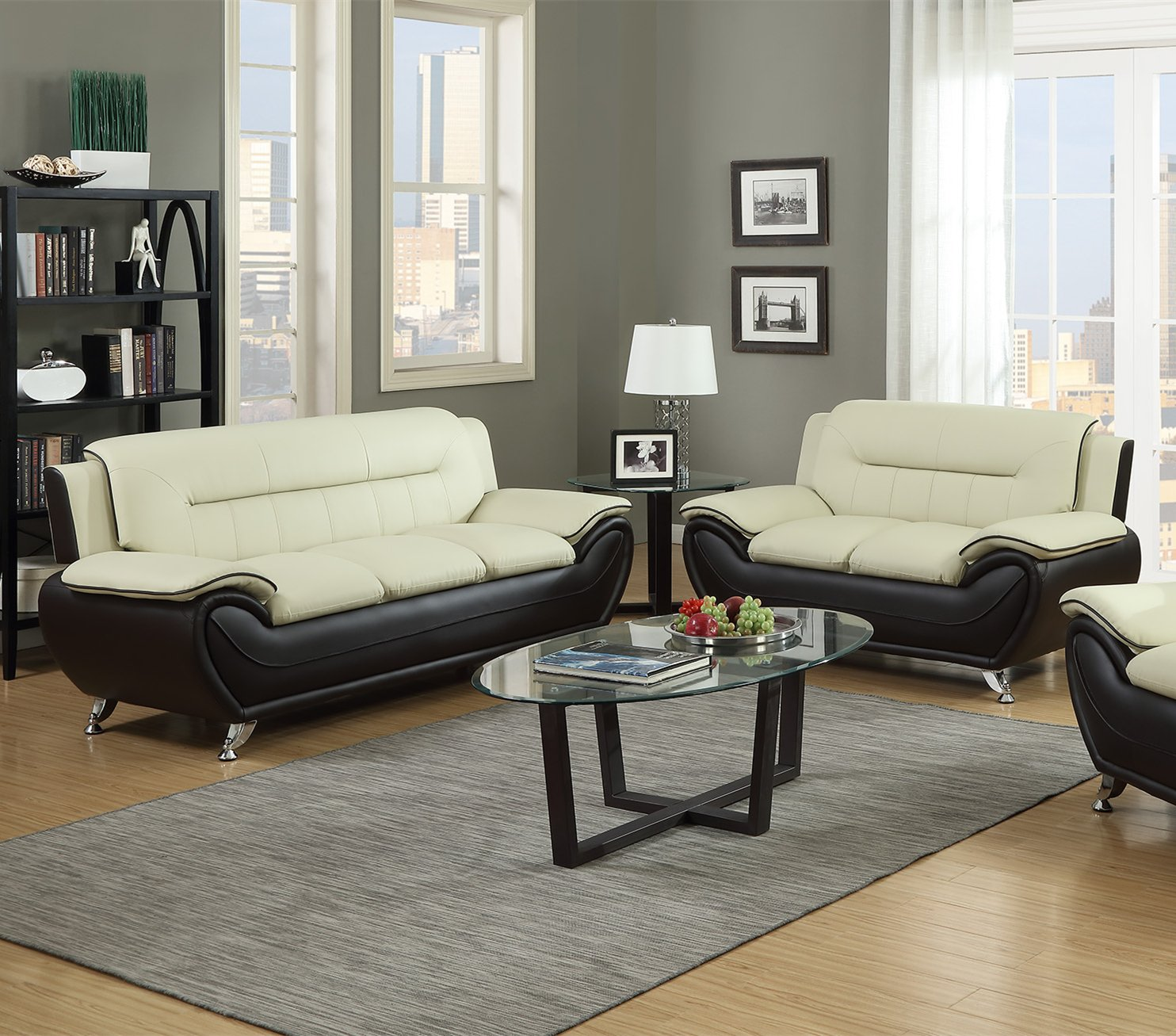 Amazon GTU Furniture Contemporary Bonded Leather Sofa