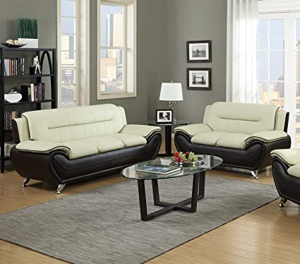 GTU Furniture Contemporary Bonded Leather Sofa U0026 Loveseat Set (Sofa And  Loveseat, Beige And