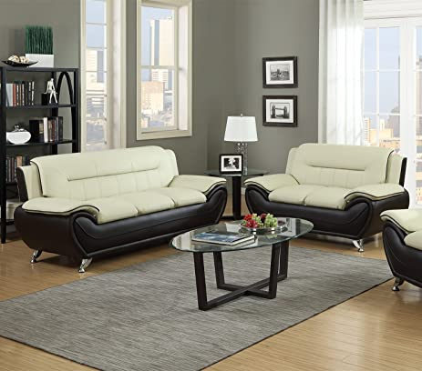 Merveilleux GTU Furniture Contemporary Bonded Leather Sofa U0026 Loveseat Set (Sofa And  Loveseat, Beige And