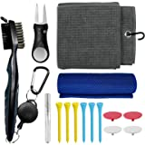 Golf Club Cleaning Kit, Microfiber Waffle Pattern Magnetic Golf Towel with Clip, Sport Cooling Towel, Golf Brush and Groove C