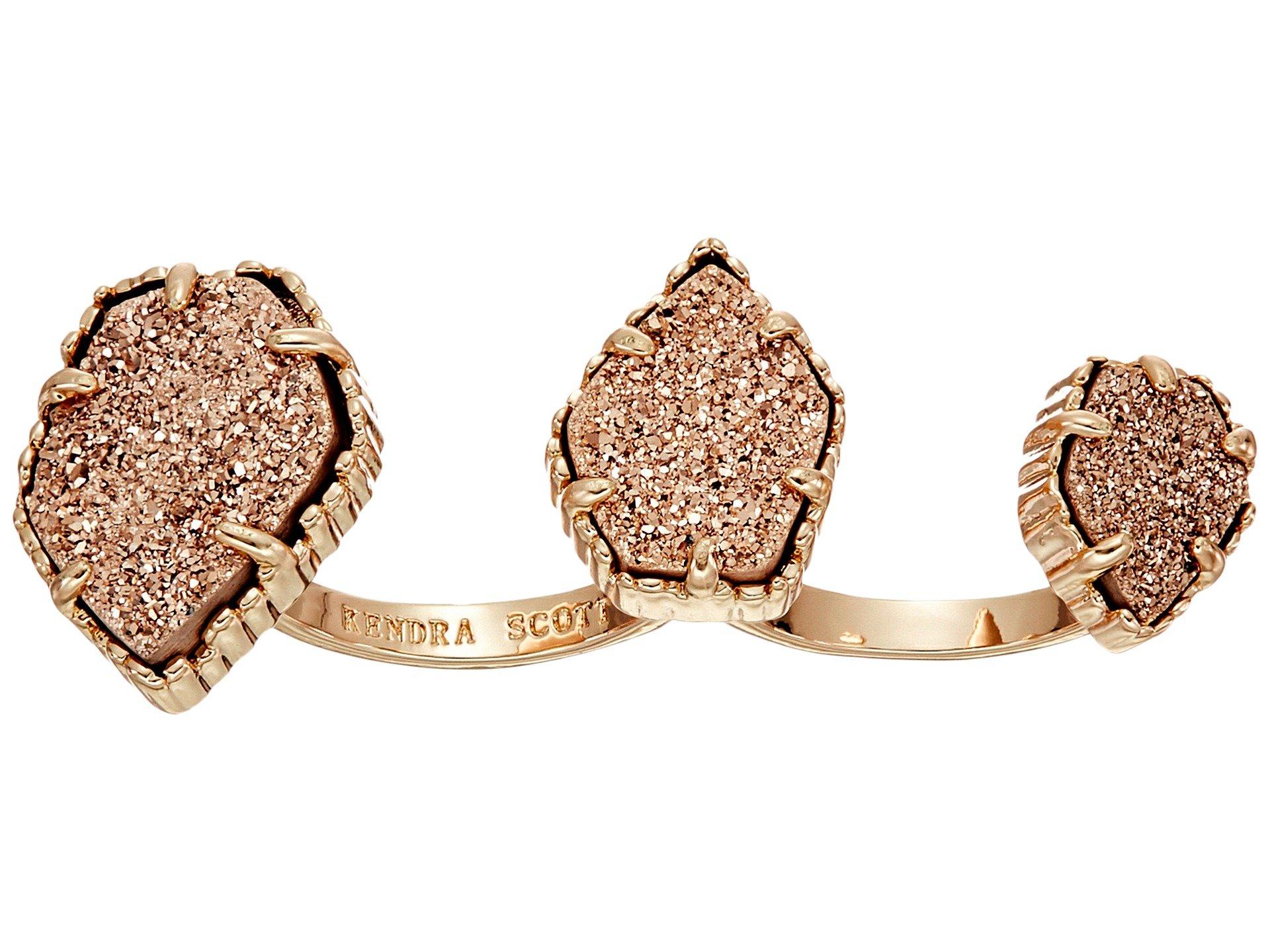 Kendra Scott Women's Naomi Two Finger Ring Adjustable Rose Gold/Rose Gold Drusy Ring