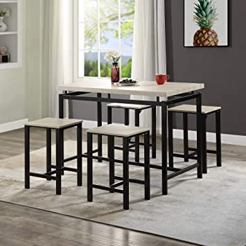 Amazon Com Miyaca 5 Pieces Dining Table Set Modern Simple Dining Table And 4 Chair Wooden Countertops With Metal Frames Perfect For Kitchen Dining Room Table Chair Sets