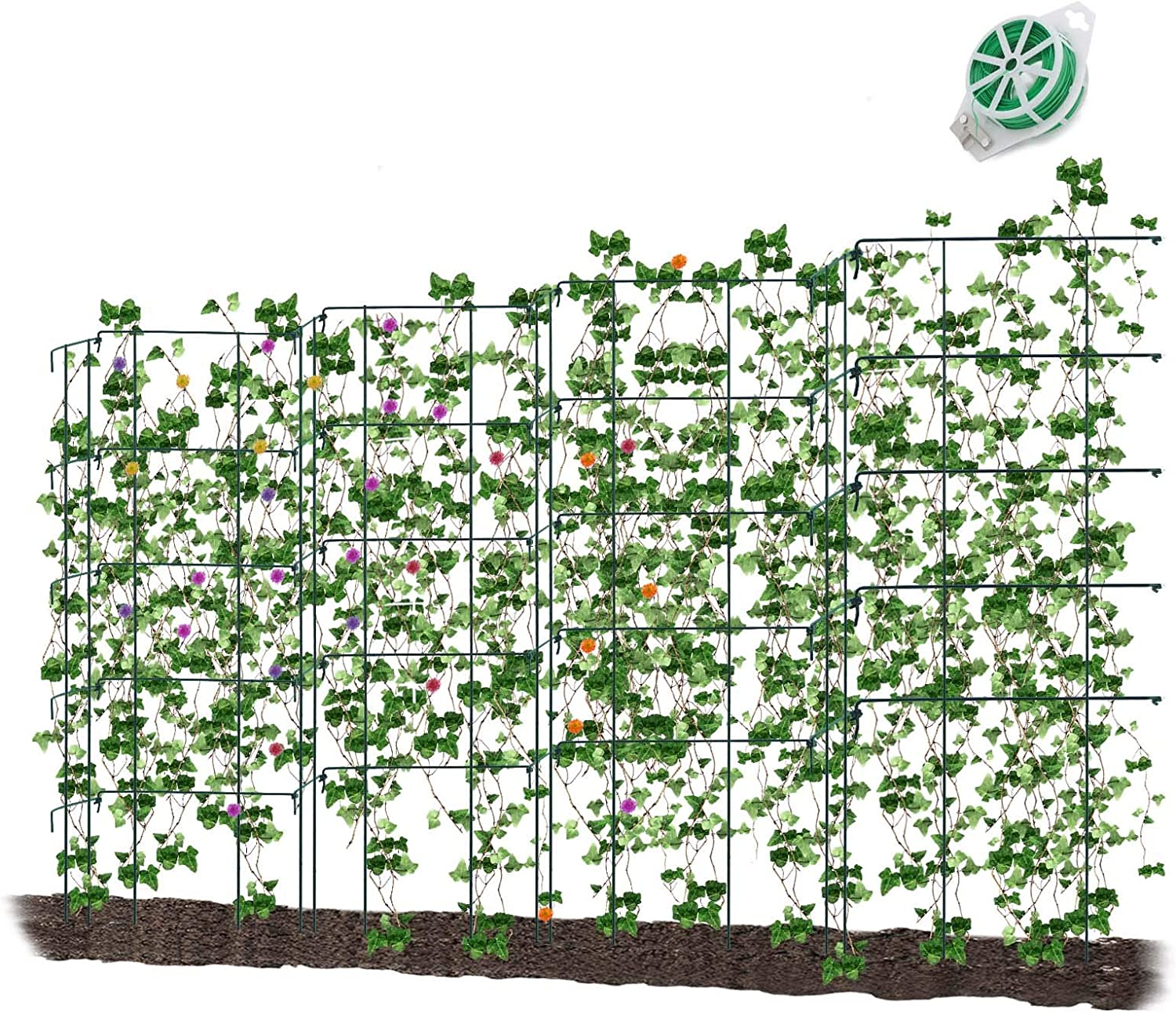 CEED4U 3 Packs 37 Inches Height Green Expandable Pea Trellis with 328 Feet Garden Twist Ties, Steel Plant Supports for Climbing Peas and Other Vining Crops