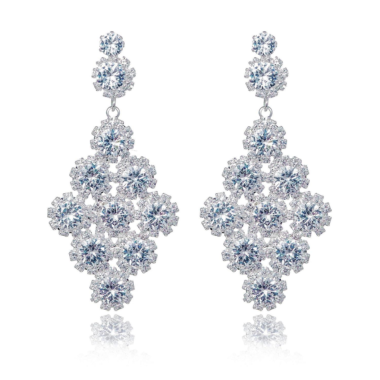 Bridal Luxurious Diamante Rhinestone Crystal Large Silver Floral Long Earrings