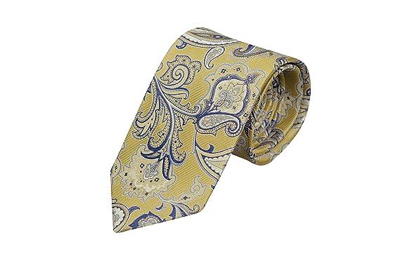 13b26bbe8974 Notch Men's Silk Necktie - Big yellow and blue floral pattern, near paisley