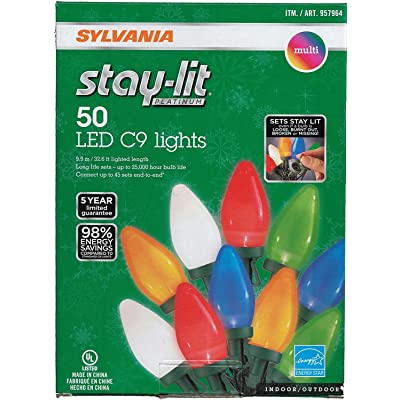 Sylvania Stay-lit LED Multicolored Faceted C9 Lights, 50: Home Improvement