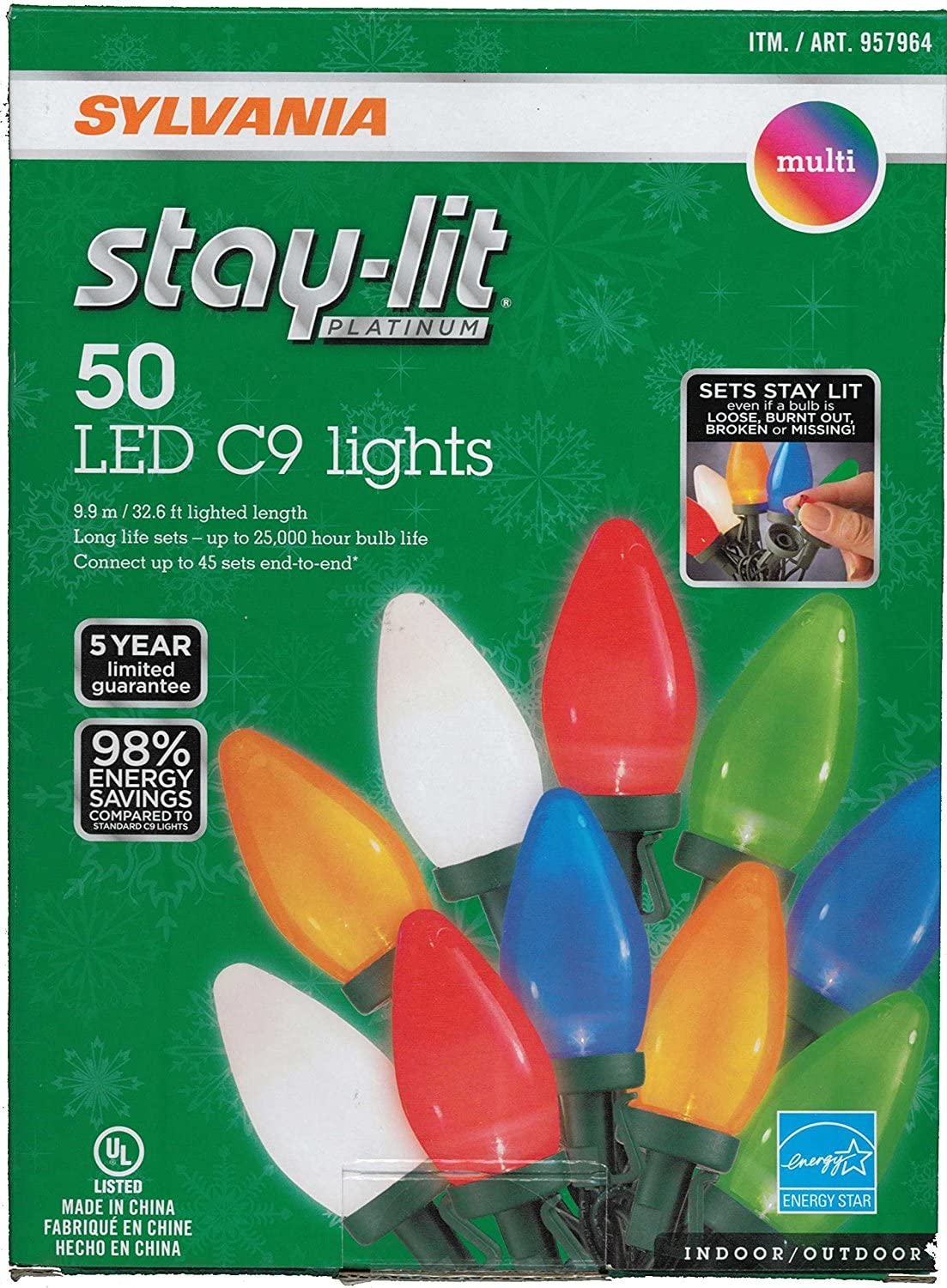 Amazon Com Sylvania Stay Lit Led Multicolored Faceted C9