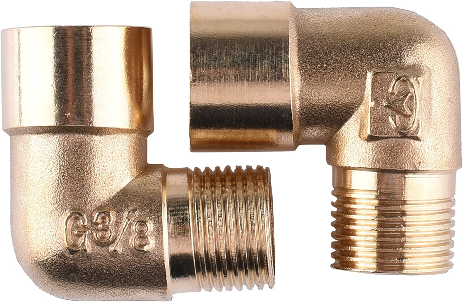 90 Degree Hose Elbow Water Connector Garden Solid Brass Adapter 2Pcs 4 Washers