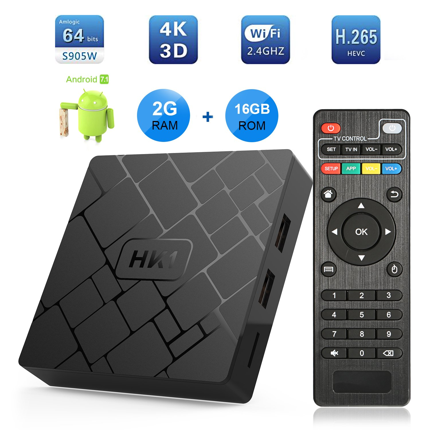 Android 7.1 TV Box - LIVEBOX HK1 2018 Version Android TV Box 2GB RAM 16GB ROM Amlogic S905W Quad Core A53 64 Bits,Supporting 4K (60Hz) Full HD/3D/H.265/WiFi 2.4GHz by LIVEBOX