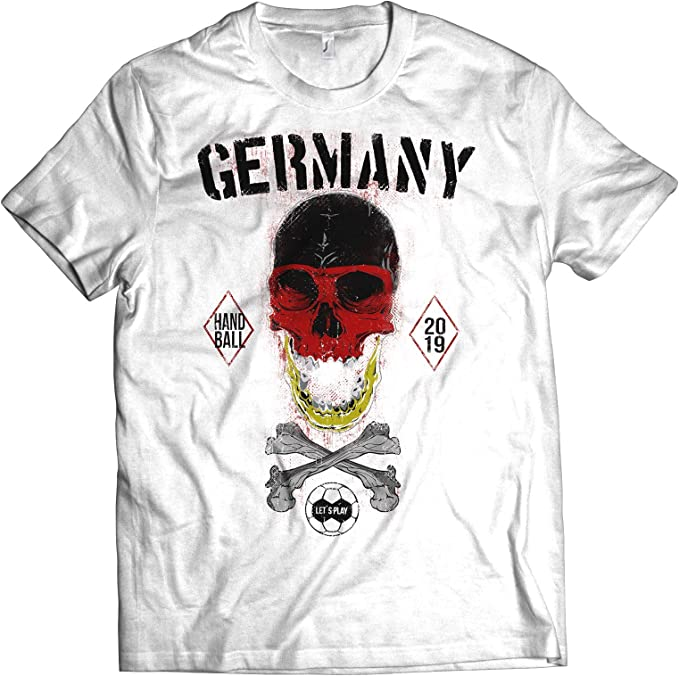 NG articlezz Camiseta Hombre Balonmano Calavera Camiseta de Fan WM 2019 Alemania Germany: Amazon.es: Ropa y accesorios