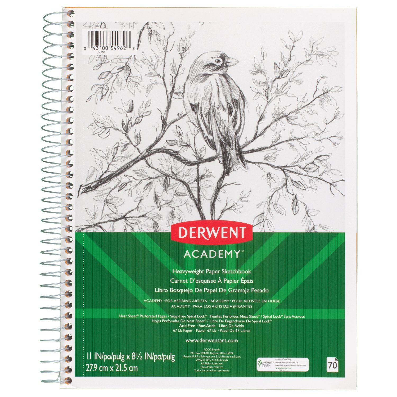 Derwent Academy Heavyweight Paper Sketchbook, Wirebound, 70 Sheets, 11'' x 8-1/2'' (54962)