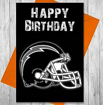 akgifts NFL de fútbol americano Tarjeta de cumpleaños tarjeta de felicitación de los Angeles cargadores - efecto de pizarra único (7 - 10 días hábiles ...