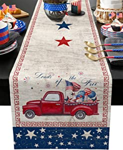 Chic D Independence Day Table Runner 72 Inches Long, Truck US Flag Cotton Linen Spring Table Cloth Runners for Wedding Party Dinning Coffee Holiday, Farmhouse Style, Firework Rustic Wood