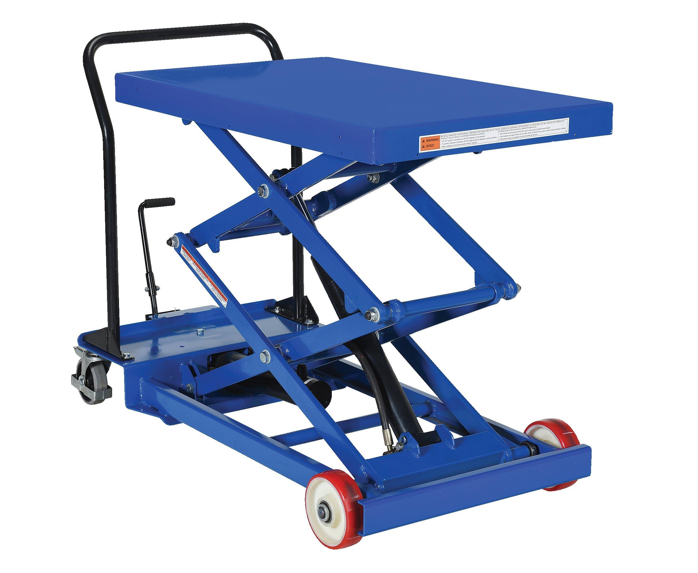 Vestil CART-1000-D-FR Steel Double Scissor Cart, Foot-Actuated, Single Speed Hydraulic Pump, 1000 lb. Capacity, 40'' x 24'' Platform, Height Range 11-3/4'' to 61'', Blue
