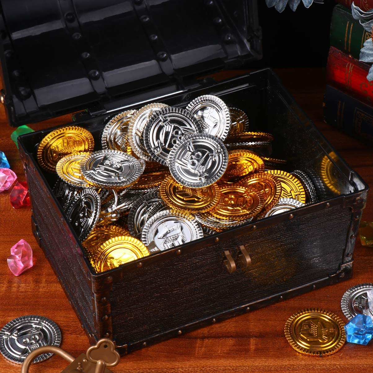 VOSAREA Treasure Chest Toy Kids Treasure Box Toys with Pirate Gold Coins and Gems for Boys Girls Assorted Color