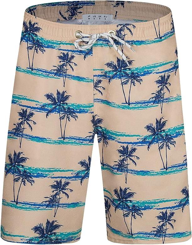 Flamingo On Purple Pattern Mens Beach Shorts Lightweight Bathing Suit