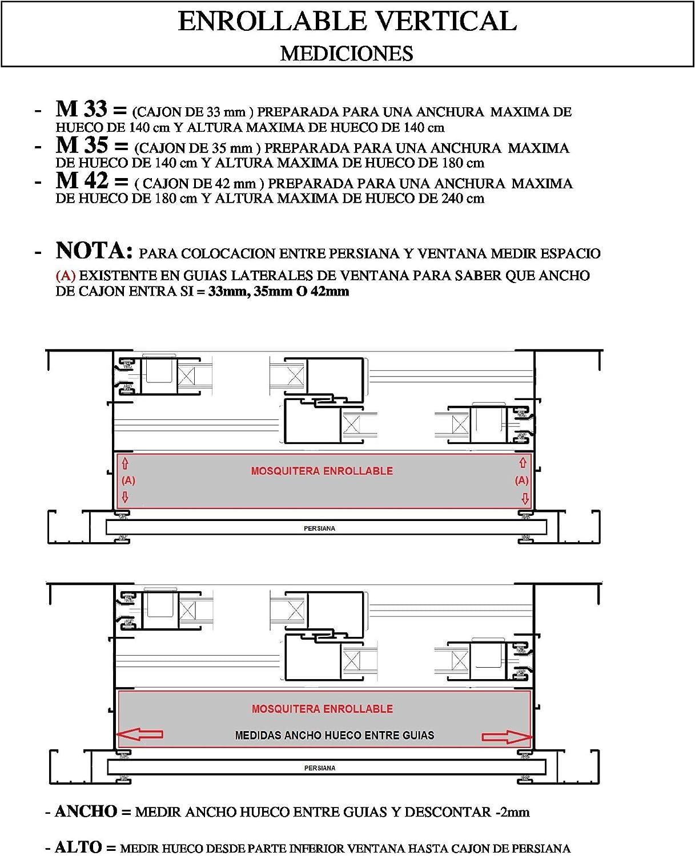 KIT MOSQUITERAS ENROLLABLES FABRICADAS A LA MEDIDA QUE SE NECESITE PARA CADA HUECO. (100 x 100 cm).