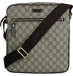 35b7f778103a Gucci Men's Shoulder Beige/Ebony GG Coated Canvas Bag 201448 FCIGG 8588