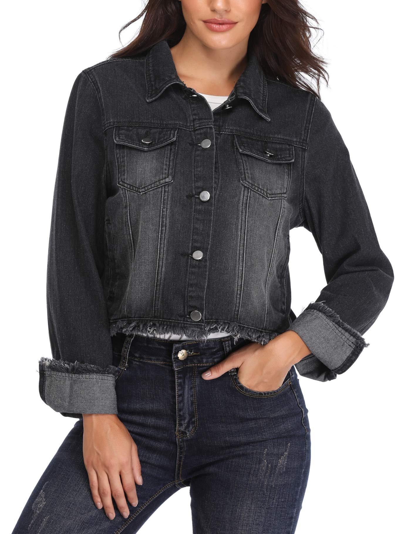 MISS MOLY Jean Jackets for Women Button up Turn Down Collar Frayed Denim Washed Crop Coat (Black, Medium/US-10)