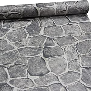 11 Yards Stone Wallpaper Peel and Stick Removable Castle Tower Rustic Paper Rock Self Adhesive Wall Decoration Dark Grey Fortress