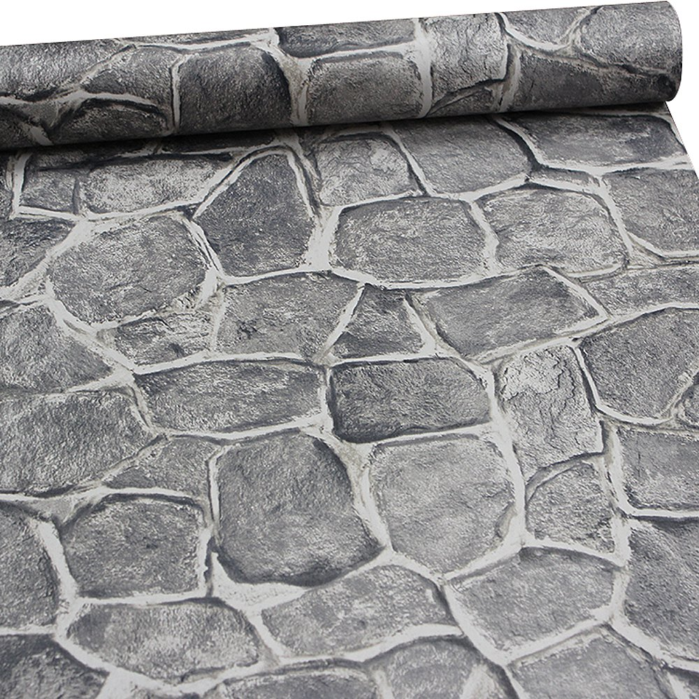 11 Yards Stone Wallpaper Peel and Stick Removable Castle Tower Rustic Contact Paper Rock Self Adhesive Wall Decoration Dark Grey Fortress by ZeroStage